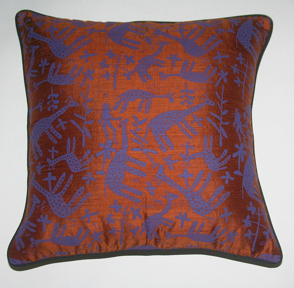 African Silk Pillow Copper Purple Giraffe Handwoven Raw Silk Black Piping - Cultures International From Africa To Your Home