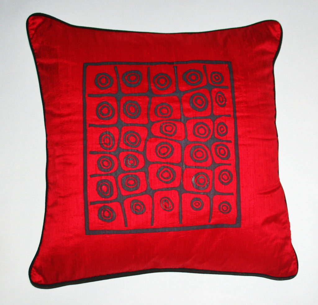 African Silk Pillow Red Black Abstract Bushman Design in Raw Silk - Cultures International From Africa To Your Home