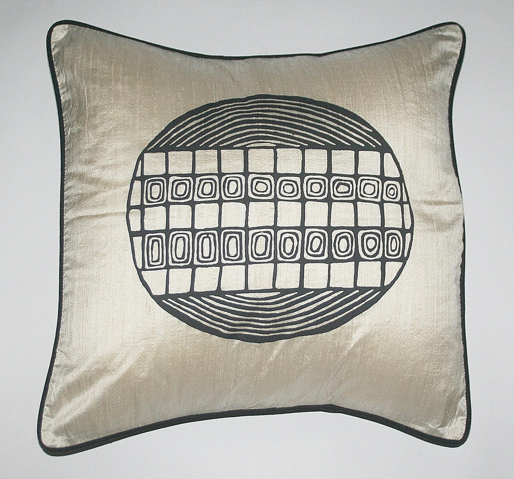 African Raw Silk Pillow White Black Abstract Bushman Design Black Piping - Cultures International From Africa To Your Home