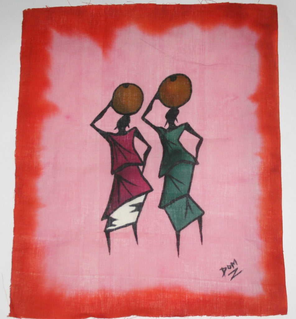 "African Batik Art Tribal Women With Pots West Africa  22.5"" X 18.5"" - Cultures International From Africa To Your Home"