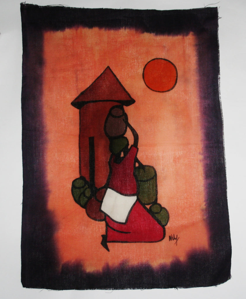 "African Batik Tribal Woman With Pots in 26"" X 18"" Signed By Artist - Cultures International From Africa To Your Home"