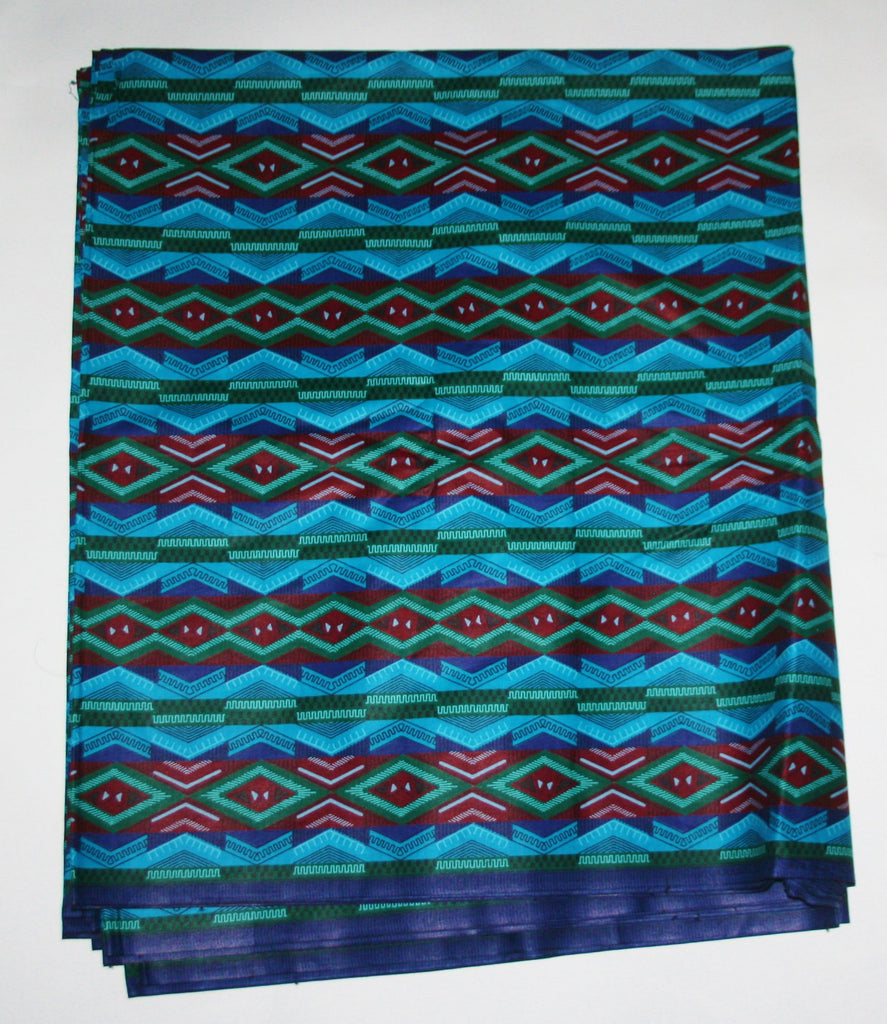 African Fabric 6 Yards Geometric Blue, Ruby-Red Vlisco Guaranteed Dutch Java Print - Cultures International From Africa To Your Home