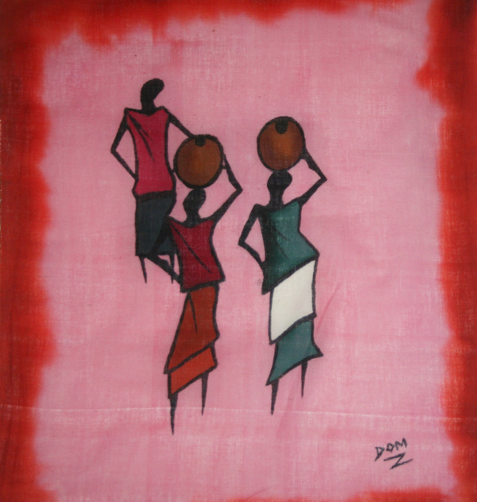African Batik Art Tribal Women Abstract Painting Vintage West Africa 22 5 X 18 5 Signed By Artist