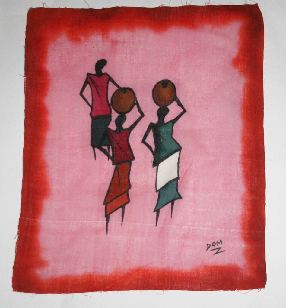"African Batik Art Tribal Women Abstract Painting Vintage West Africa  22.5"" X 18.5"" Signed By Artist - Cultures International From Africa To Your Home"
