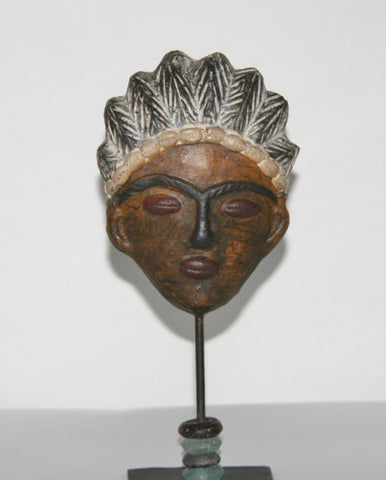 African Mask Clay Double Face Sculpture Handcrafted West Africa