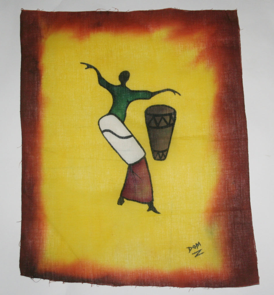"African Batik Art Tribal Woman Drummer Vintage West Africa  22.5"" X 18.5"" - Cultures International From Africa To Your Home"
