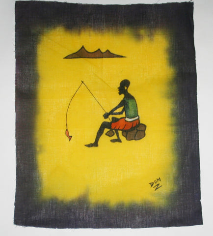 "African Batik Art Tribal Fisherman Vintage West Africa  22.5"" X 18.5"" - Cultures International From Africa To Your Home"