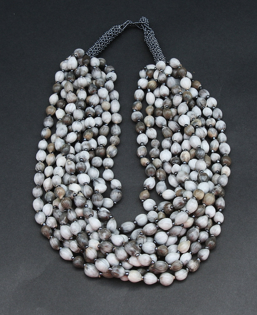 African Imfibinga Necklace/Job'sTears Seed Necklace Natural Gray with Bead Closure - Cultures International From Africa To Your Home