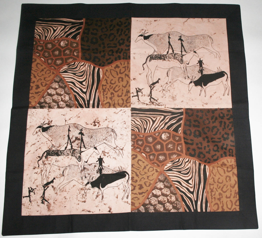 "Pillow Bushman Continental Cave Art Browns and Black African Wildlife Hunters and Animal Print 35"" X 35"" Extra large"