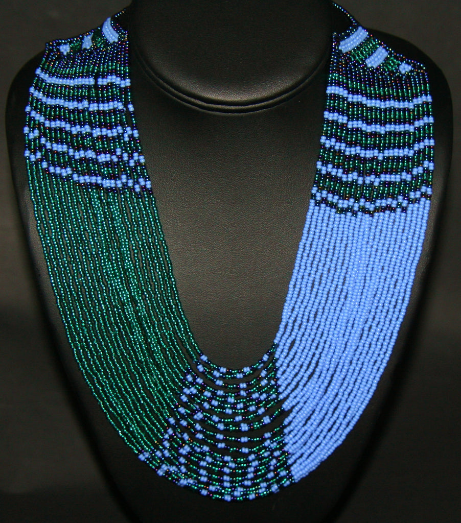 African Necklace Tribal Waterfall Design Blue Turquoise Green Matching Bracelet - Cultures International From Africa To Your Home