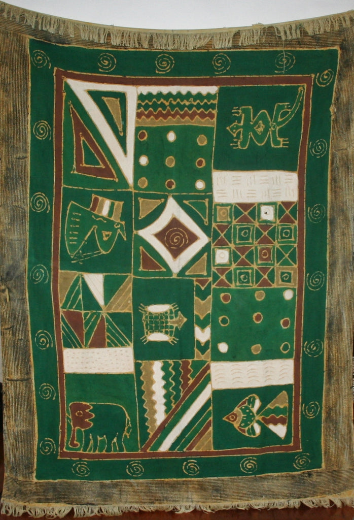 African Sadza Batik Tapestry, Tribal Green Design - Cultures International From Africa To Your Home