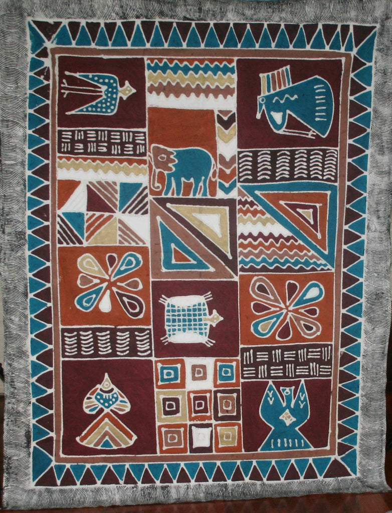 African Sadza Batik Tapestry Geometric Abstract Elephant - Cultures International From Africa To Your Home