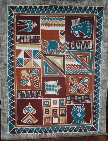 African Sadza Batik Tapestry Geometric Abstract Elephant