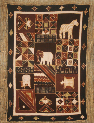 "African Batik Zimbabwe Abstract Geometric Tribal Design Brown Gold Cream Handmade 54""W X 78""L Vintage"