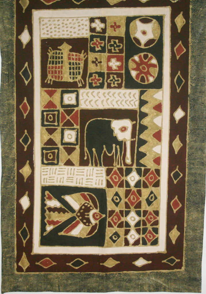 "Elephant Batik Geometric Tribal Design Burgundy/Red, Brown Gold, Black, White  37""W X 59""L Vintage Zimbabwe"