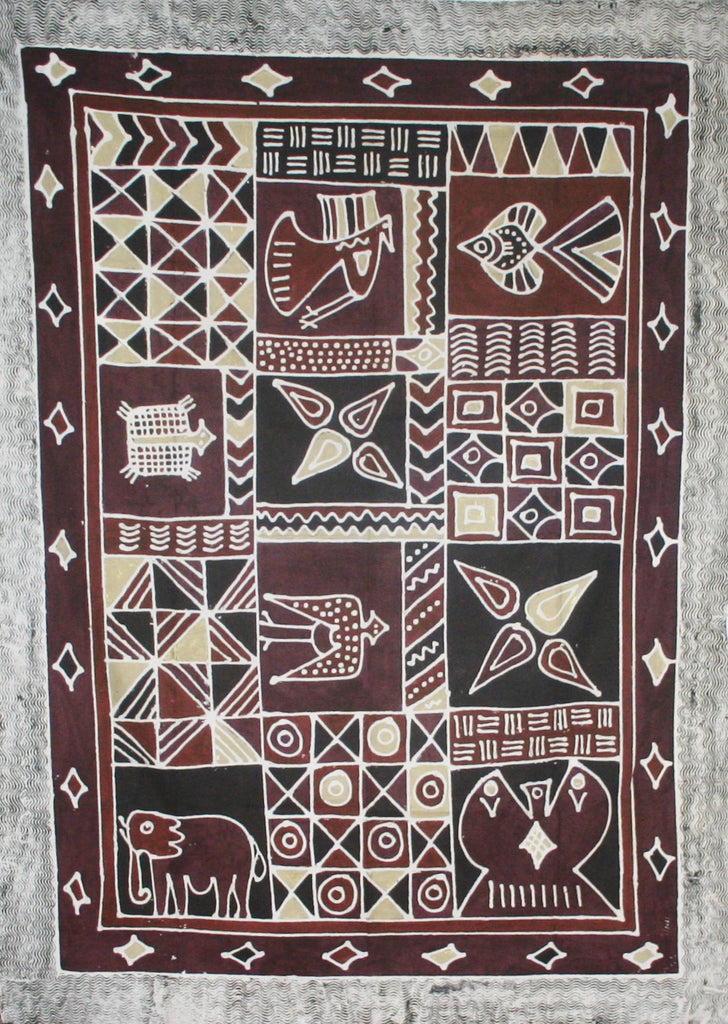 "African Batik Tapestry Handcrafted in Zimbabwe  Brown Gold Burgundy Vintage 57"" X 78"" - Cultures International From Africa To Your Home"