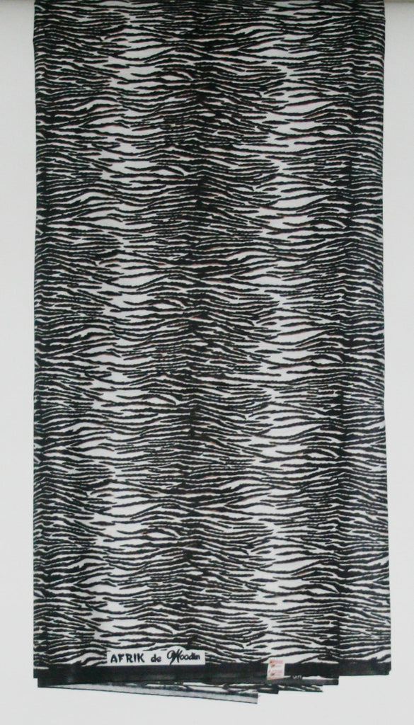 African Fabric 6 Yards Afrik de Woodin Vlisco Zebra Wax Print Fabric Classic Black and White - Cultures International From Africa To Your Home