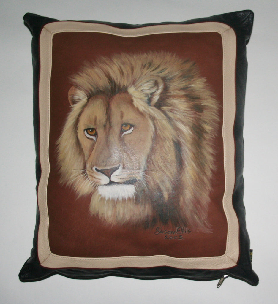 African Lion Original Art Leather & Suede Pillow Cover Original Painting on Leather - Cultures International From Africa To Your Home