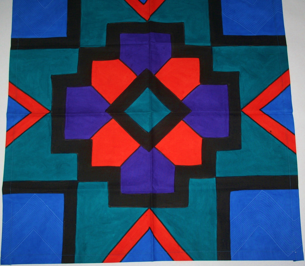 "African Geometric Table Overlay Wall Hanging Orange, Purple, Turquoise, Black Hand Painted  29"" X 29"" - Cultures International From Africa To Your Home"