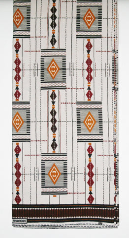 African Fabric 6 Yards Vlisco Tisse de Woodin Classic White, Brown, Gold, Black