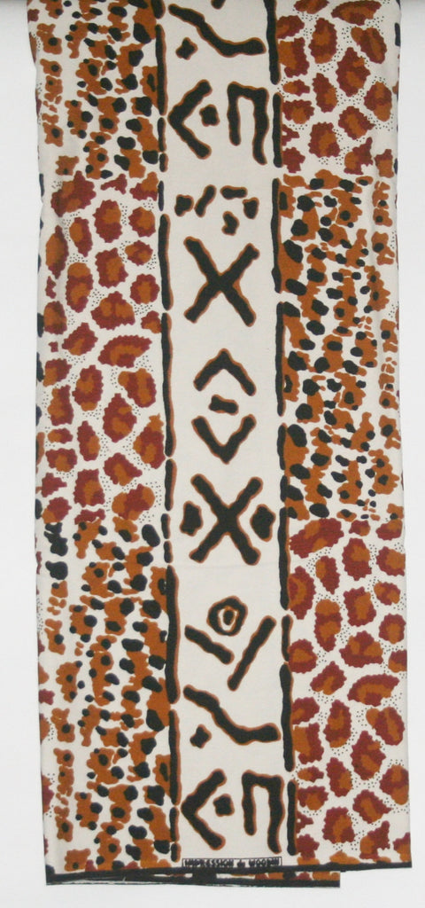 African Fabric 6 Yards Impression de Woodin Vlisco Classic Mudcloth Animal Print - Cultures International From Africa To Your Home