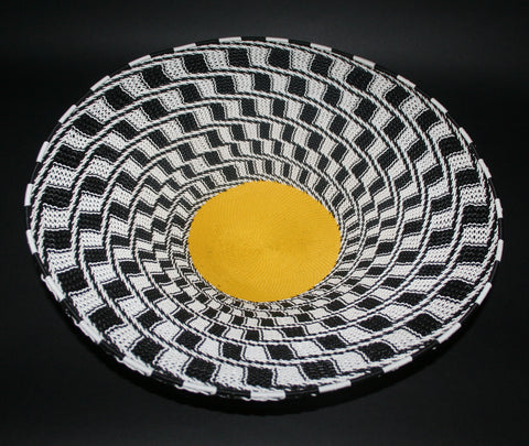 "African Telephone Wire Bowl Zulu Basket Black White Yellow- 15""D X 4""H"