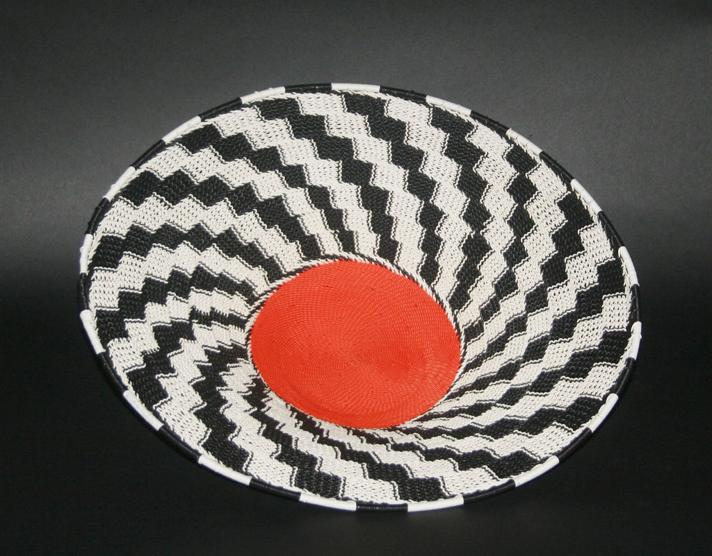 "African Telephone Wire Bowl Zulu Basket Black White Orange- 14""D X 4""H - Cultures International From Africa To Your Home"
