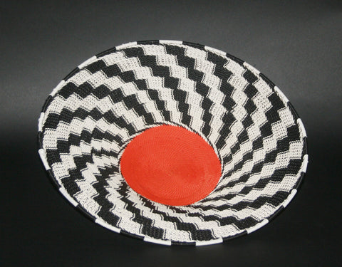 "African Telephone Wire Bowl Zulu Basket Black White Orange- 14""D X 4""H"