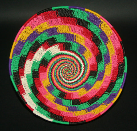 "African Telephone Wire Bowl Zulu Basket Multi Colors- 9""D X 4""H"