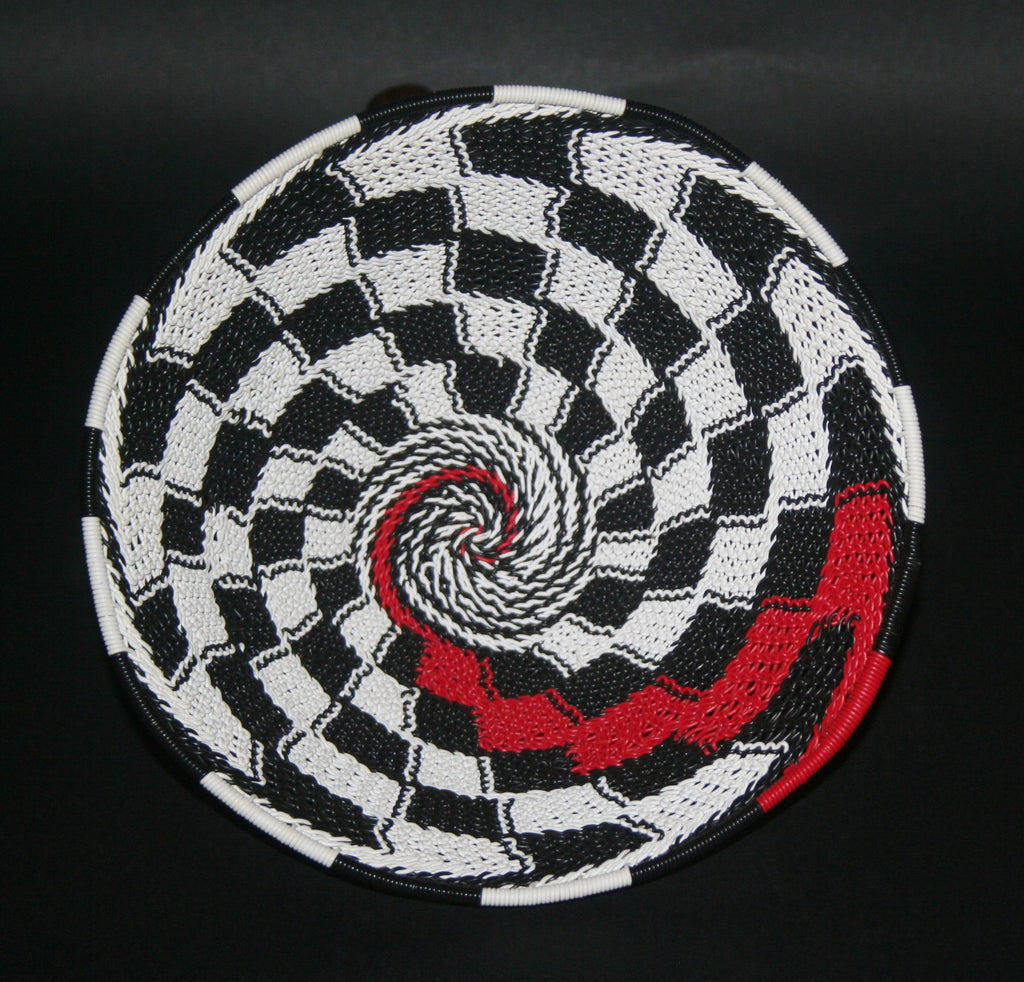 "African Telephone Wire Bowl Zulu Basket White Black Red Swirl - 7.5"" D X 3.5"" H - Cultures International From Africa To Your Home"