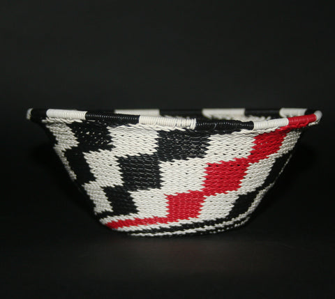"African Telephone Wire Bowl Zulu Basket White Black Red Swirl - 7.5"" D X 3.75"" H"