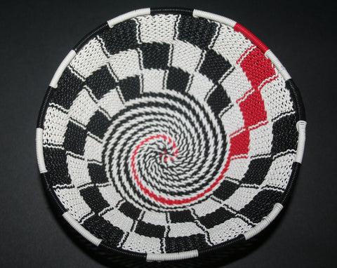 "African Telephone Wire Bowl Zulu Basket White Black Red Swirl - 6.75"" D X 3"" H"