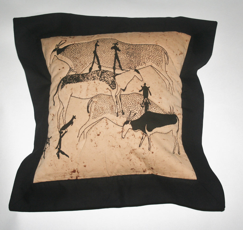 Tribal African Pillow Quilted Bushman Cave Art Pillow Tan and Black - Cultures International From Africa To Your Home