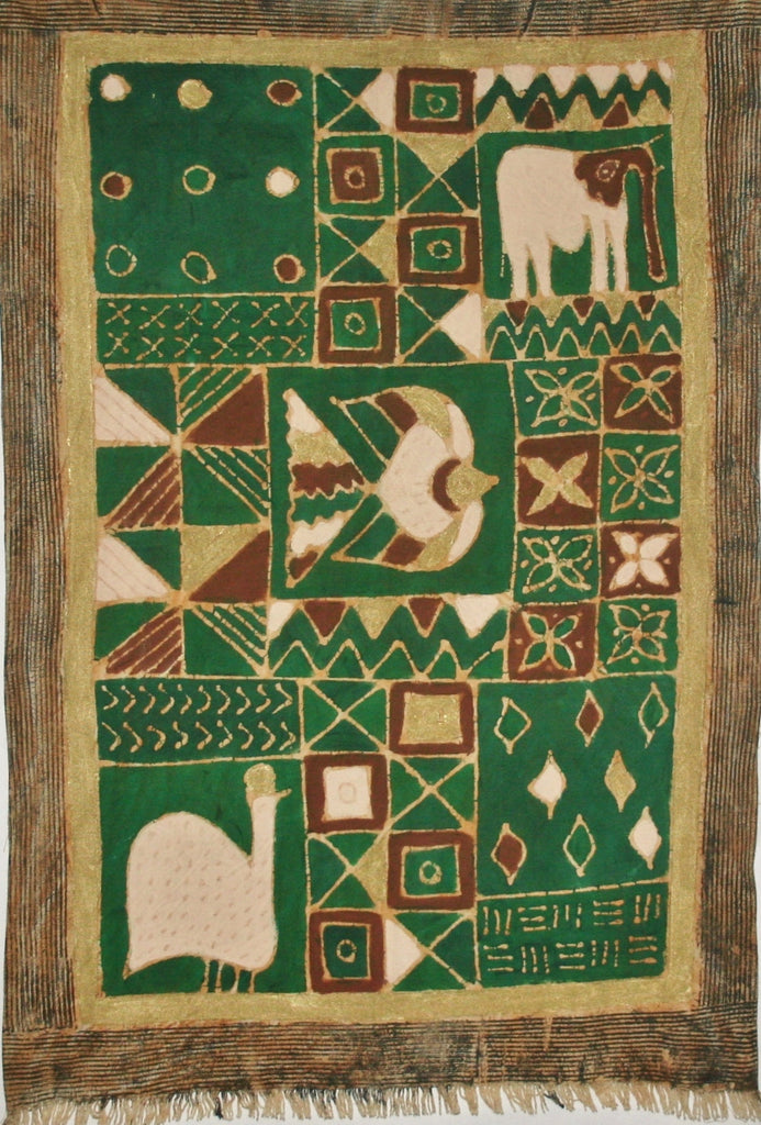 African Batik Tapestry, Elephant Design Green Gold - Cultures International From Africa To Your Home