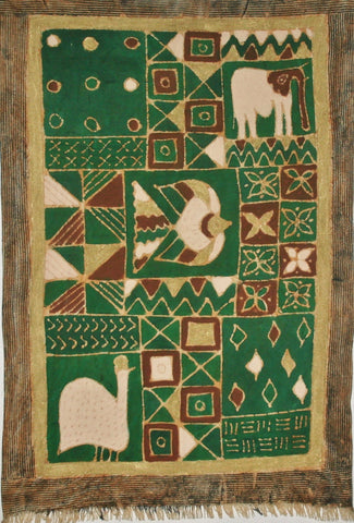 African Batik Tapestry, Elephant Design Green Gold