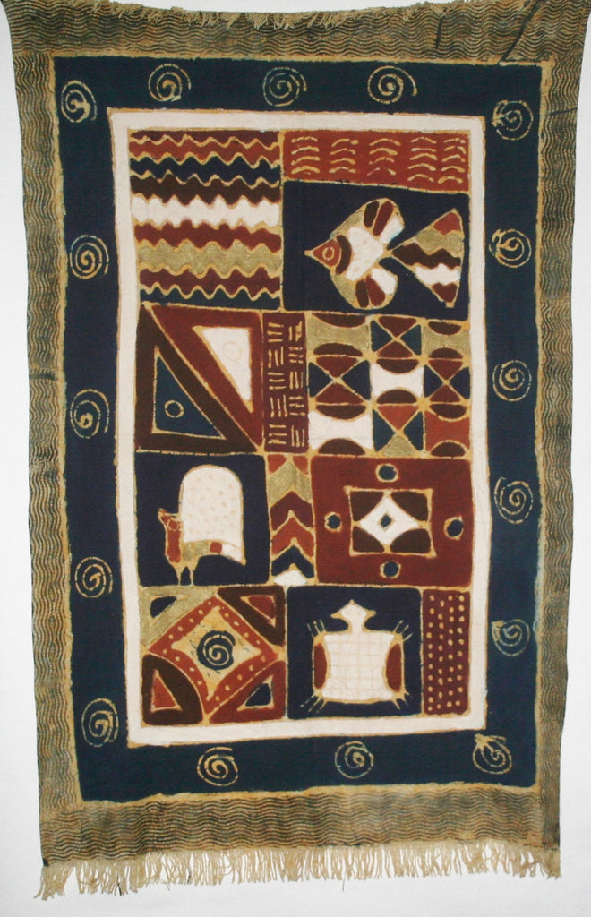 "African Sadza Batik Tapestry, Turtle, Gunea Fowl, Fish Geometric  Tribal Design Navy, Gold, White Gold  34""W X 55""L - Cultures International From Africa To Your Home"