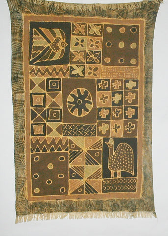 "African Sadza Batik Tapestry  Geometric  Tribal Design, Gold, Brown  35""W X 55""L"