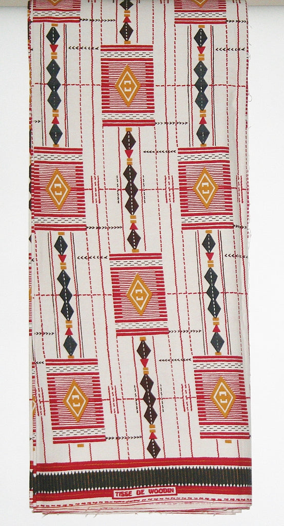 African Fabric 6 Yards  Vlisco Classic, Tisse De Woodin Red, Black White, Gold, Ivory Coast African Ankara - Cultures International From Africa To Your Home