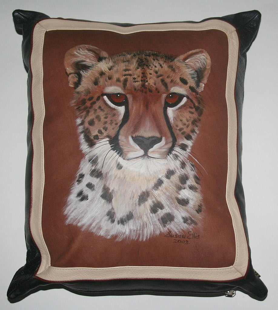 Leopard Original Art Leather & Suede Pillow Cover Original Painting on Leather