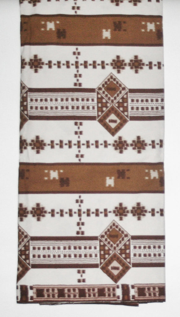 African Fabric 6 Yards Vlisco Tisse de Woodin Classic White, Brown - Cultures International From Africa To Your Home