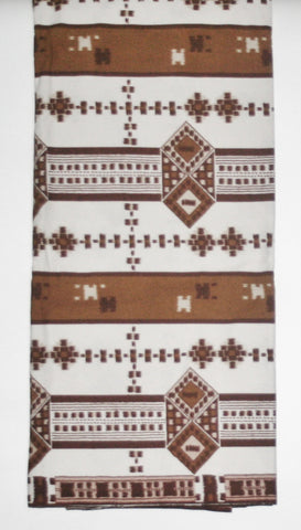 African Fabric 6 Yards Vlisco Tisse de Woodin Classic White, Brown