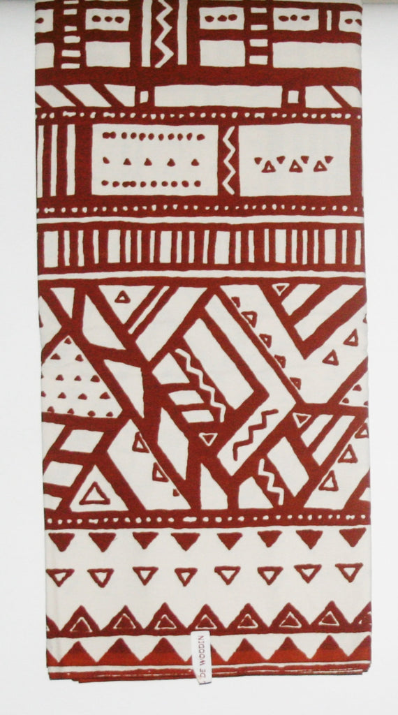 African Fabric 6 Yards Ethnic De Woodin Vlisco Classic Mudcloth Brown White - Cultures International From Africa To Your Home