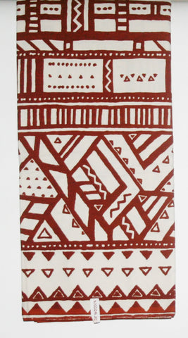 African Fabric 6 Yards Ethnic De Woodin Vlisco Classic Mudcloth Brown White