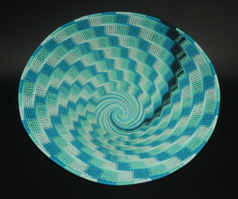 "African Telephone Wire Bowl Swirl Basket Blue Turquoise- 15""D X 45""C X 4""H - Cultures International From Africa To Your Home"