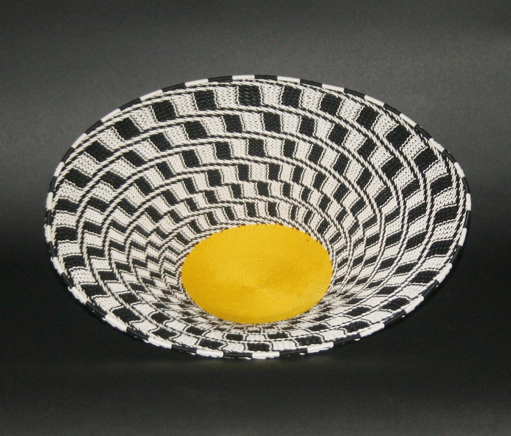 "African Telephone Wire Bowl Zulu Basket Black White Yellow- 11.5""D X 3""H - Cultures International From Africa To Your Home"