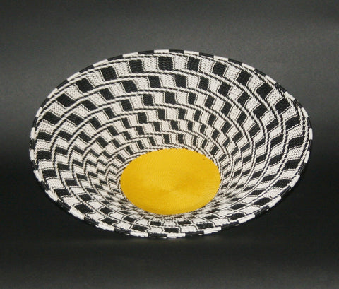 "African Telephone Wire Bowl Zulu Basket Black White Yellow- 11.5""D X 3""H"