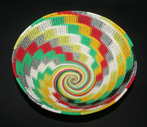 "African Telephone Wire Bowl Zulu Basket Rainbow Colors- 9""D X 4""H"