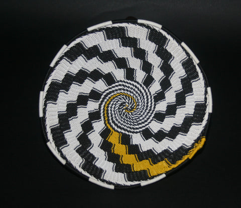 "African Telephone Wire Bowl Zulu Basket White Black Yellow Swirl - 7.75"" D X 3.75"" H"