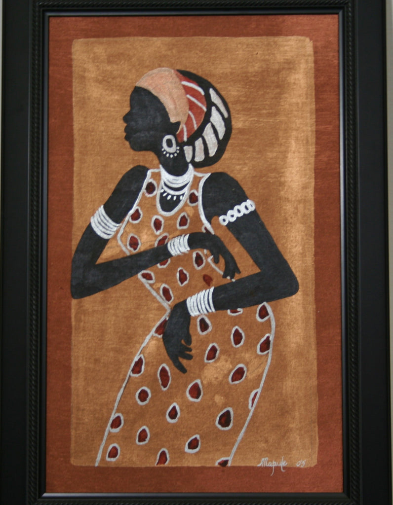 "African Woman Painting Modern Xhosa Tribal Woman III Acrylic on Textile Framed in Black Original Art 24""H X 16""W"