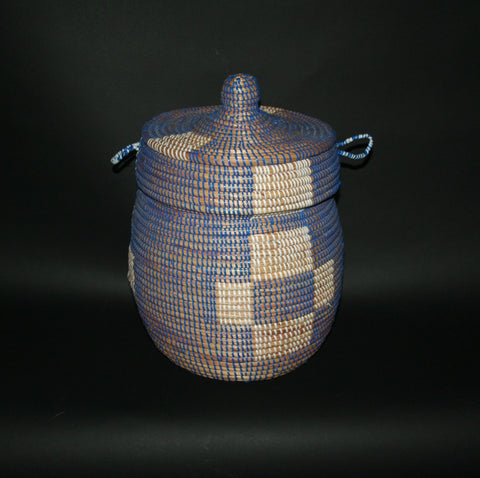 African Basket Lidded Blue White Natural Senegal Hand woven Grass and Plastic